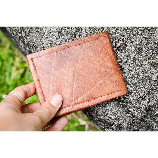 Leaf Leather Bifold Wallet - Brown