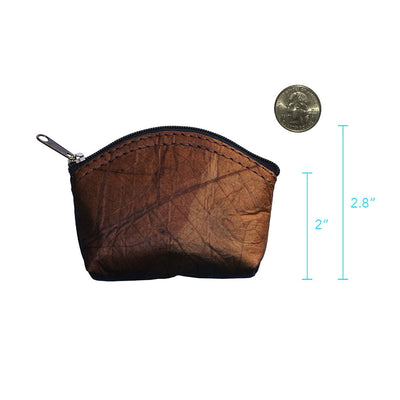 Leaf Leather Coin Bag - Brown