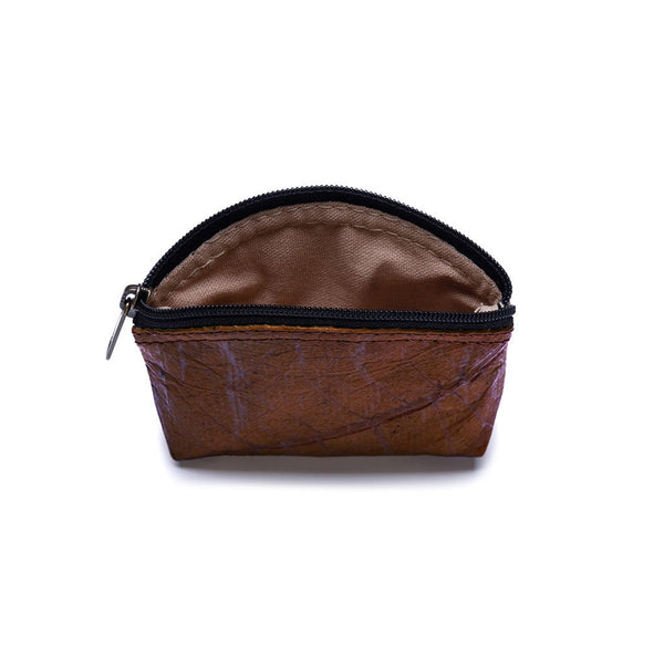 Leaf Leather Coin Bag - Brown  -  LL Coin Bag Brown