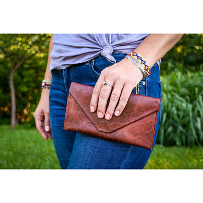 Envelope Clutch - Brown  -  LL Envelope Clutch Brown