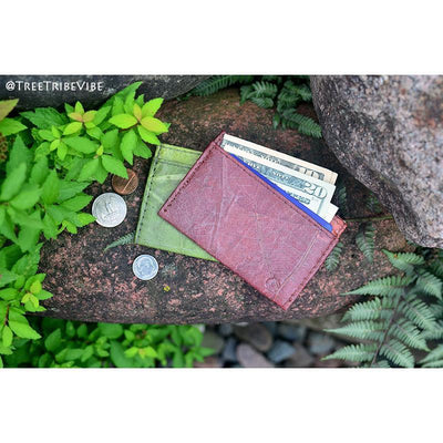 Leaf Leather Slim Wallet - Brown