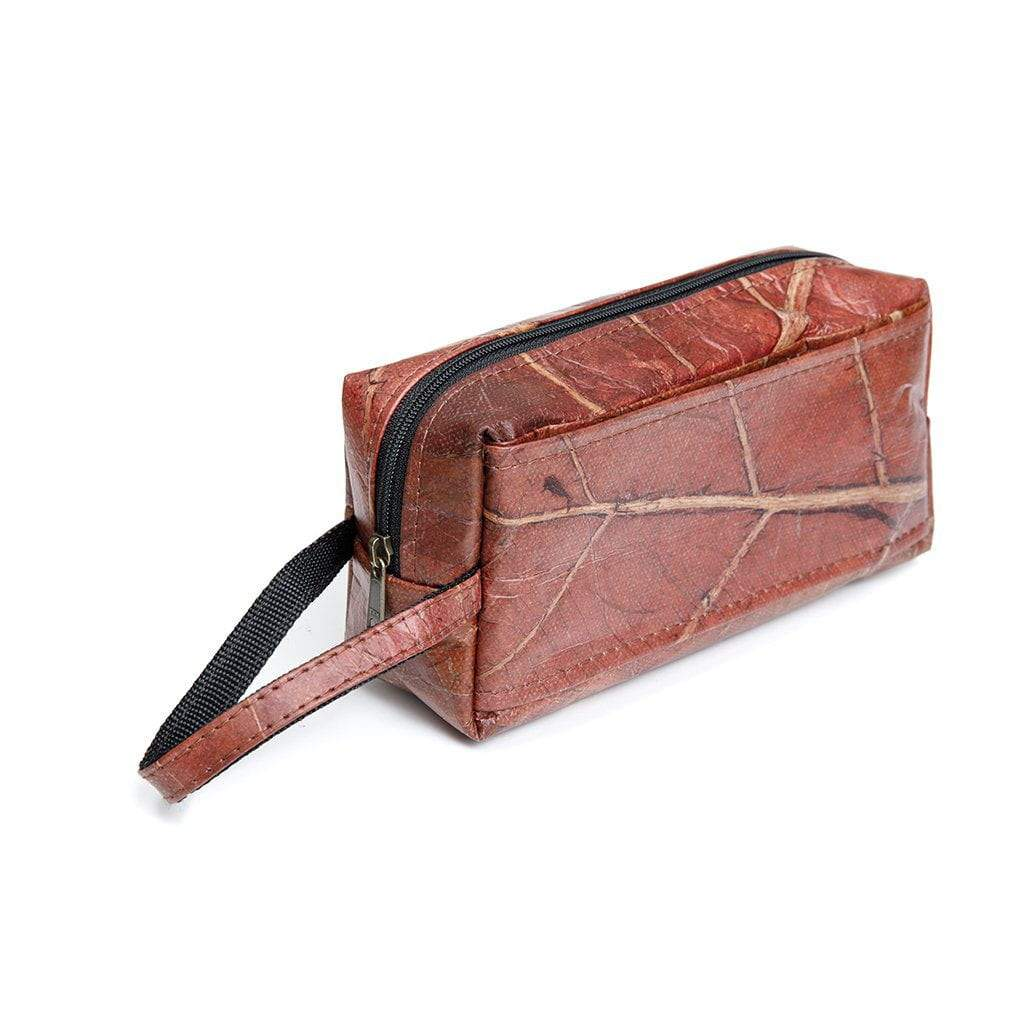 3735d706312a Brown Travel Kit Toiletry Bag - Handmade Leaf Leather Accessories ...
