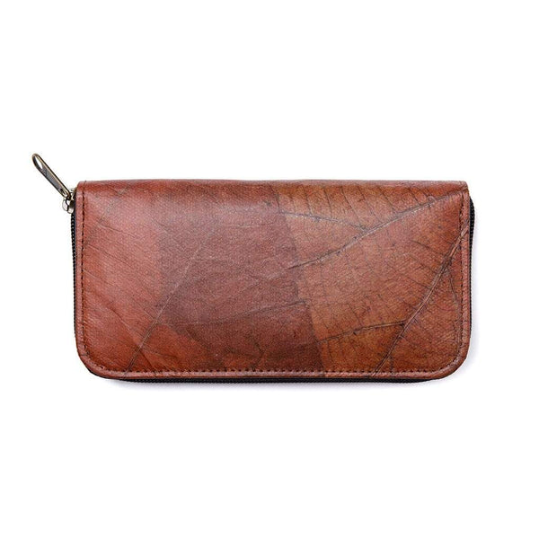 Leaf Leather Women's Long Wallet - Brown