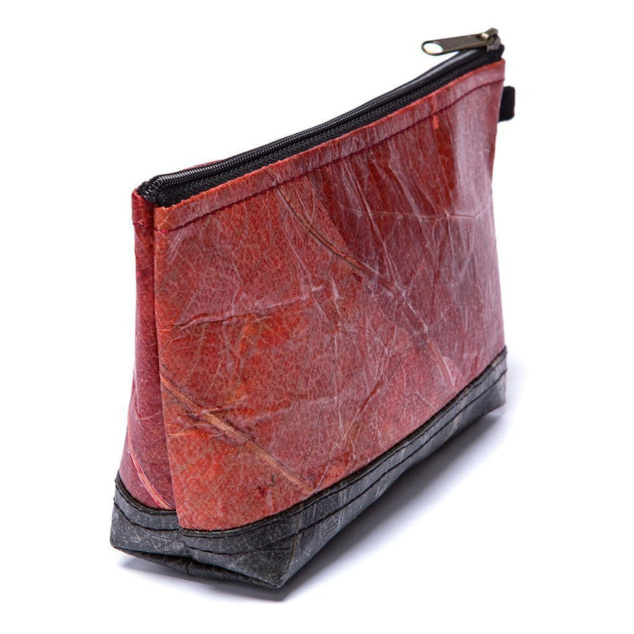 Leaf Leather Stash Bag - Red / Black