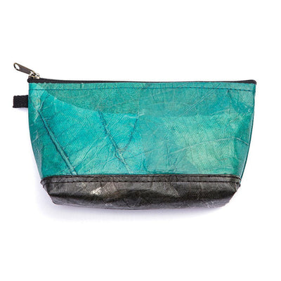 Leaf Leather Stash Bag - Turquoise / Black