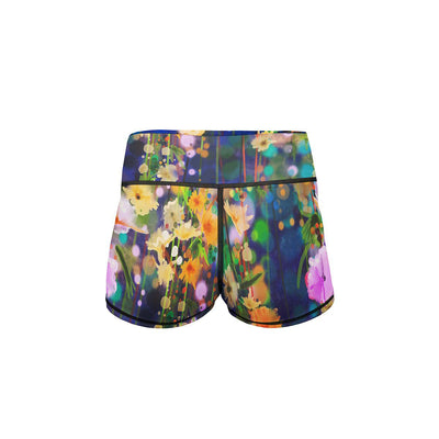 Floral Forest Yoga Shorts  -