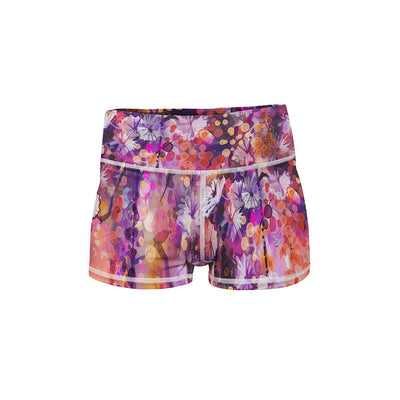 Floral Portrait Yoga Shorts  -  Women's Shorts
