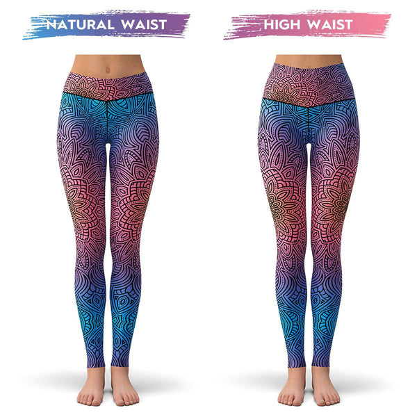 Fluorescent Mandala Leggings  -  Yoga Pants