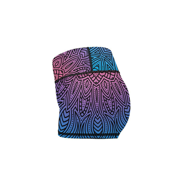 Fluorescent Mandala Yoga Shorts  -  Women's Shorts