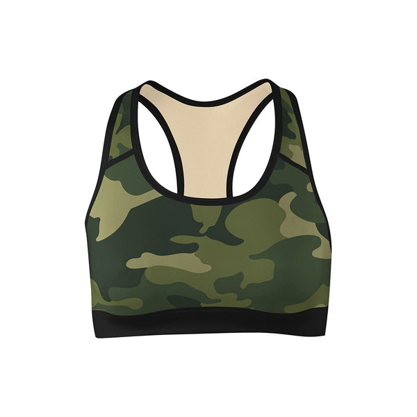 Forest Camo Sports Bra  -  Yoga Top