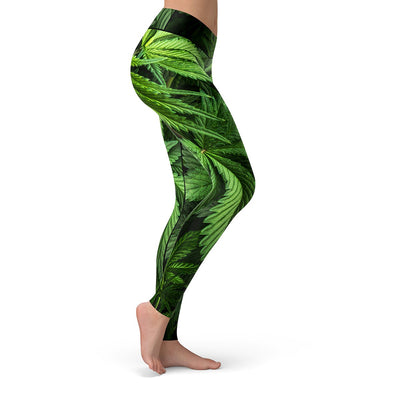 pot leaf marijuana leggings - side