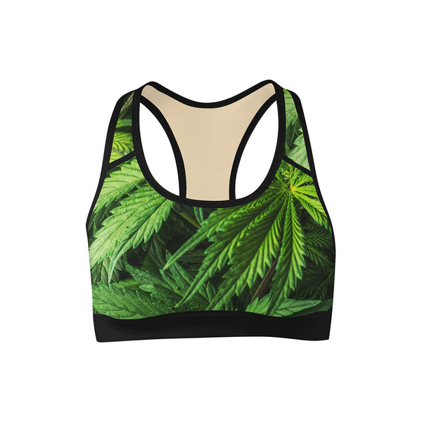 pot leaf marijuana sports bra - front view