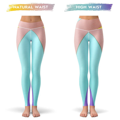 Geo Block Leggings  -  Yoga Pants