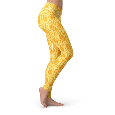 Golden Leaf Leggings  -  Yoga Pants