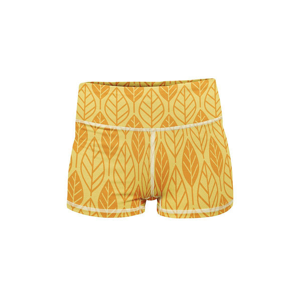 Golden Leaf Yoga Shorts  -  Women's Shorts