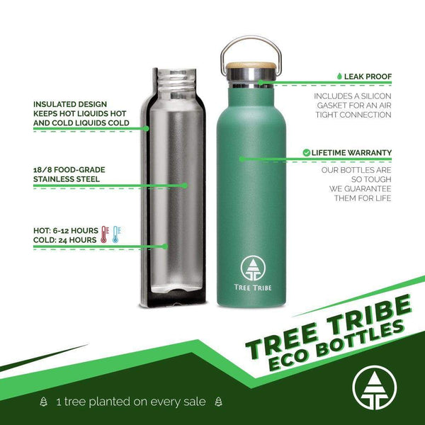 Green Tribe Logo Water Bottle - 20 oz  -  Reusable Bottle