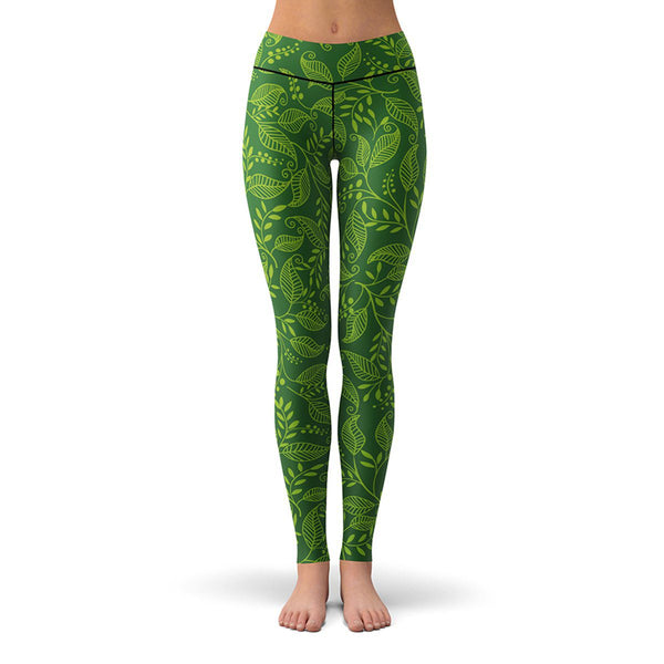 Green Leaf Leggings  -  Yoga Pants