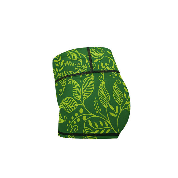 Green Leaf Yoga Shorts  -  Women's Shorts