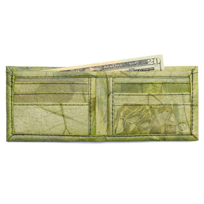 Leaf Leather Bifold Wallet - Green