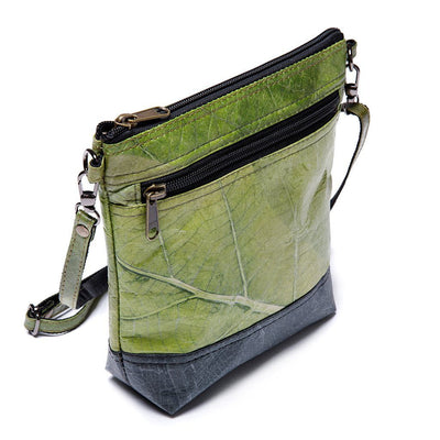 Leaf Leather Shoulder Bag - Green / Black  -  LL Shoulder Bag Green