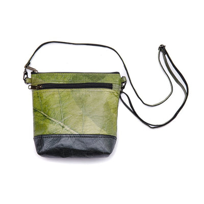 Leaf Leather Shoulder Bag - Green / Black
