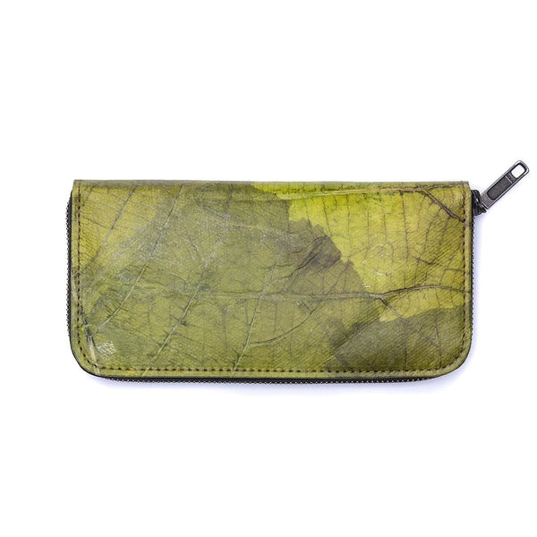 Leaf Leather Long Wallet - Green  -  LL Long Zip Wallet Green