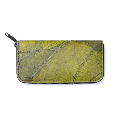 Leaf Leather Women's Long Wallet - Green