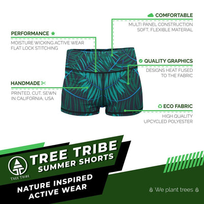 Jungle Palms Yoga Shorts  -  Women's Shorts