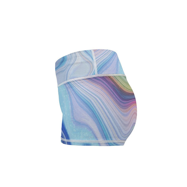 Marble Drift Yoga Shorts  -  Women's Shorts