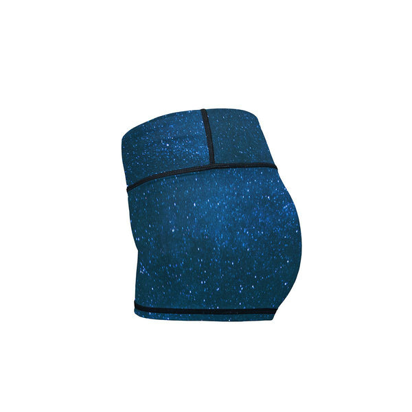 Midnight Blue Stars Yoga Shorts  -  Women's Shorts