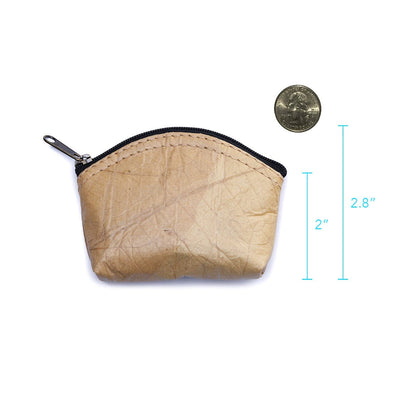 Leaf Leather Coin Bag - Natural
