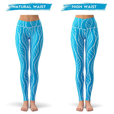 Ocean Floral Leggings  -  Yoga Pants