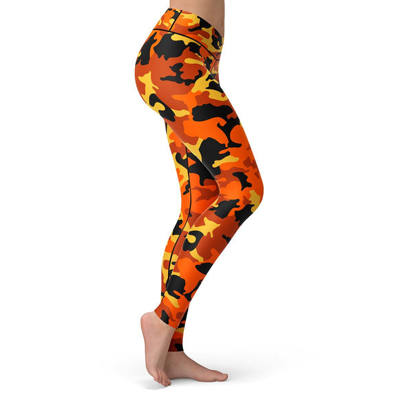 Orange Camo Leggings  -  Yoga Pants
