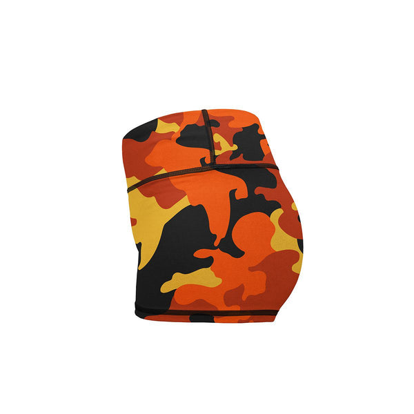 Orange Camo Yoga Shorts  -  Women's Shorts