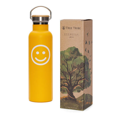 Orange Smiley Face Water Bottle - 20 oz  -  Reusable Bottle