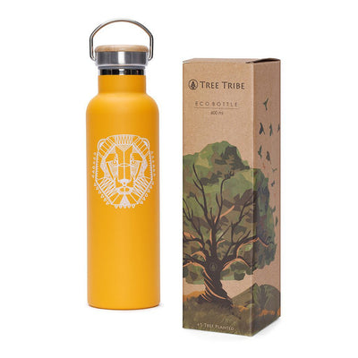 Orange Tribal Lion Water Bottle - 20 oz  -  Reusable Bottle