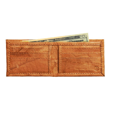 Leaf Leather Bifold Wallet - Orange
