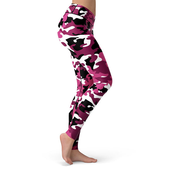 Pink Camo Leggings  -  Yoga Pants