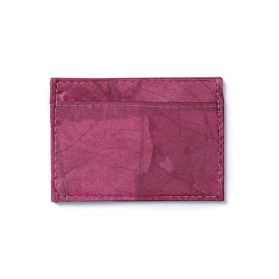 Leaf Leather Slim Wallet - Pink Rose