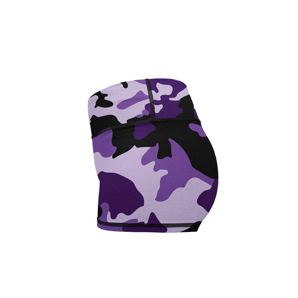 Purple Camo Yoga Shorts  -  Women's Shorts