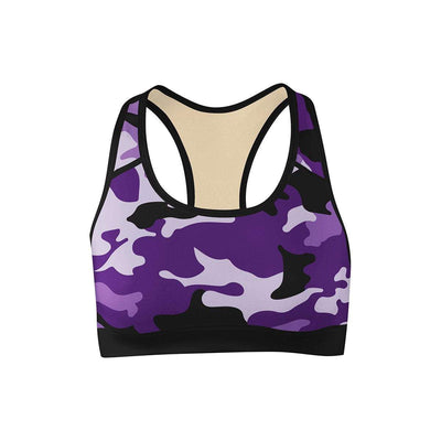 Purple Camo Sports Bra  -  Yoga Top
