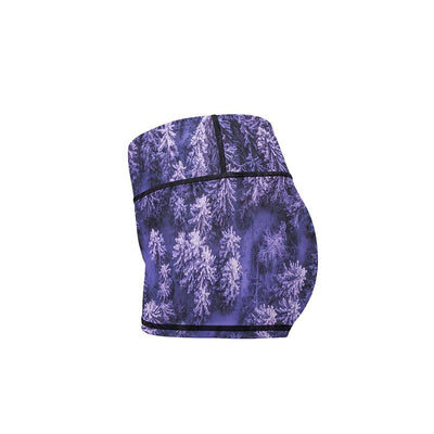 Purple Winter Yoga Shorts  -  Women's Shorts