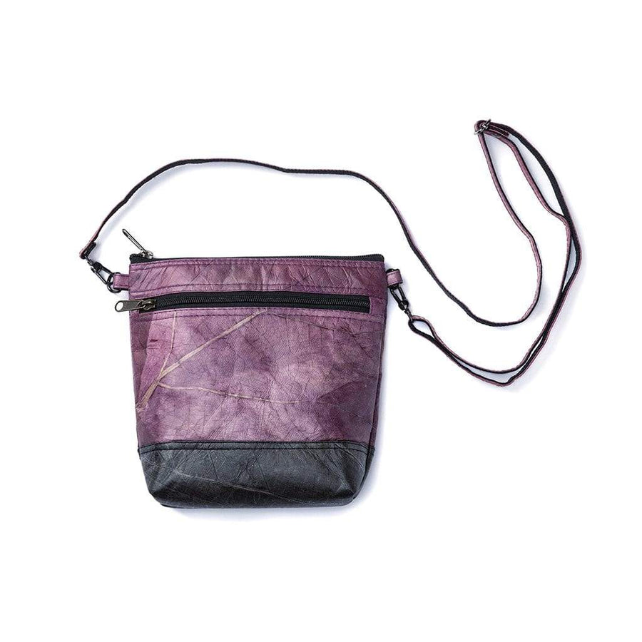 Leaf Leather Shoulder Bag - Purple