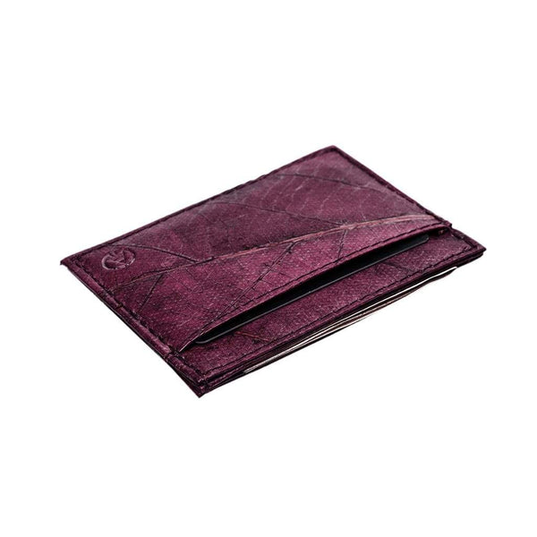 Leaf Leather Slim Wallet - Purple