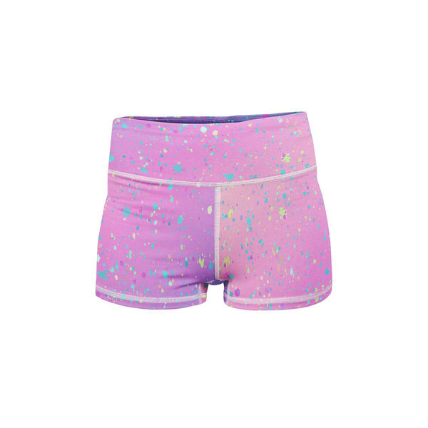 Rainbow Paint Yoga Shorts  -  Women's Shorts