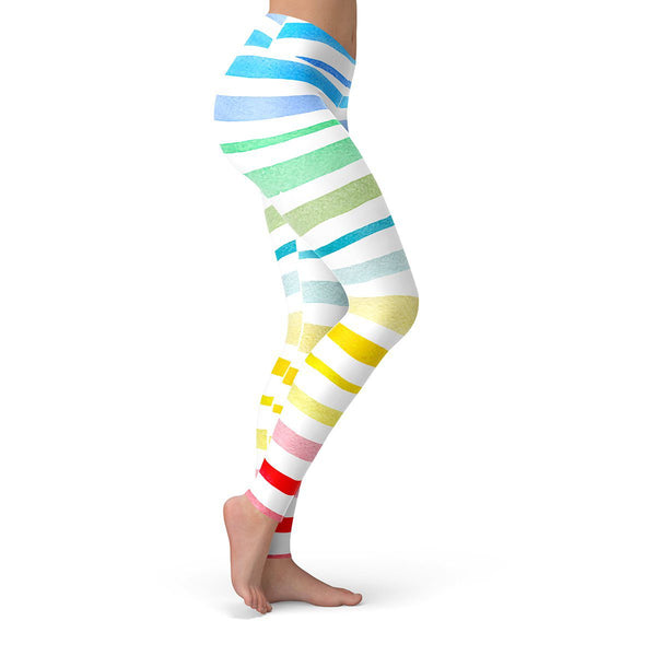 Rainbow Stripes Leggings  -  Yoga Pants