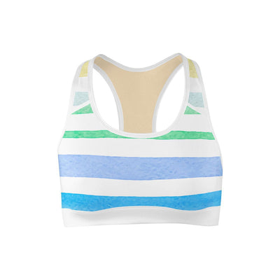 Rainbow Stripes Sports Bra  -  Yoga Top