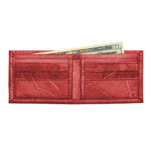 Leaf Leather Bifold Wallet - Red  -  LL Bifold Wallet Red