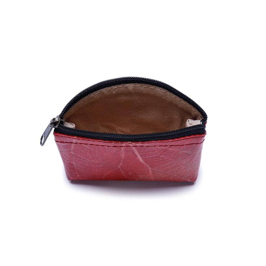 Leaf Leather Coin Bag - Red