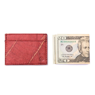 Leaf Leather Slim Wallet - Red